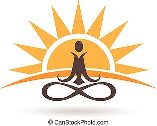 Logo de meditación Sunset. Graphic