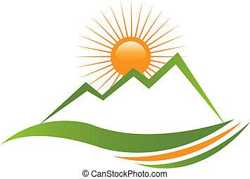 Logo de montaña soleado