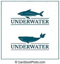 Logo de Oceanarium Submarino, ilustración vectorial