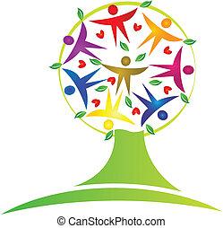 Logo de trabajo de equipo de árboles