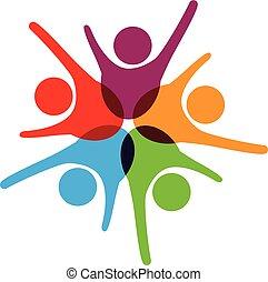 Logo de trabajo en equipo de éxito