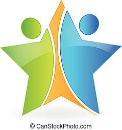 Logo de trabajo en equipo estrella