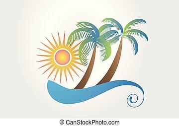 Logo de vacaciones tropicales
