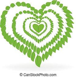 Logo del corazón de la naturaleza saludable