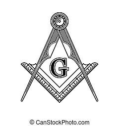 Logo del emblema masón masónico. Vector