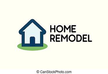 Logo elegante para el negocio de reparaciones de la casa, emblema vectorístico aislado en el fondo blanco