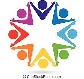 Logo equipo de trabajo gente colorida