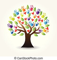 Logo manos de árbol y corazones vector de icono