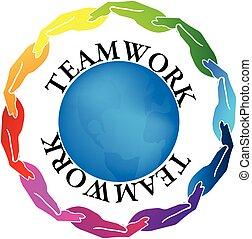 Logo manos de trabajo en equipo