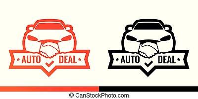 Logo para el concesionario. El frente de un coche con el símbolo del apretón de manos ilustrando el acuerdo de venta de coches