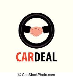 Logo para el concesionario. Un apretón de manos en el símbolo de la rueda ilustrando el acuerdo de Auto Venta