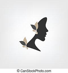 Logo, perfil de mujer