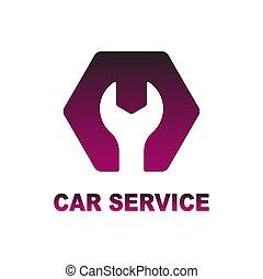 Logo por auto, auto, servicio de reparación. Ilustración de vectores.
