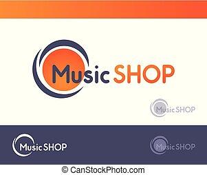Logo por Music Shopping aislado en el blanco y oscuro y gris oscuro, ilustración del vector de emblema con marca de agua.