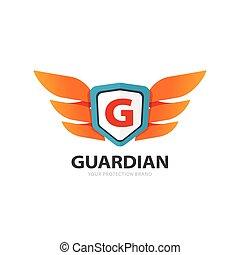 Logo protector, alas con escudo y letra G