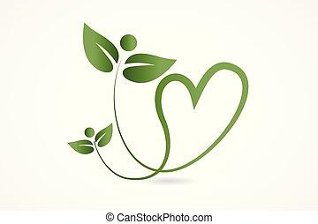 Logo salud naturaleza amor hojas del corazón