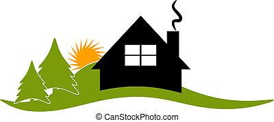 Logo vector de logotipo de la cabaña
