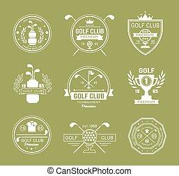 Logos de palos de golf, etiquetas y emblemas