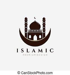 logotipo, árabe, ilustración, islámico, vector, mezquita, diseño