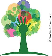 logotipo, árbol, mano