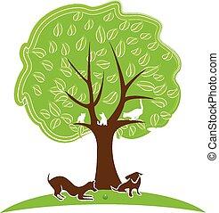 logotipo, árbol, perro, gato