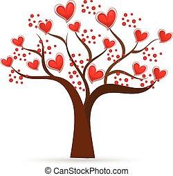 logotipo, árbol, valentines, corazones del amor