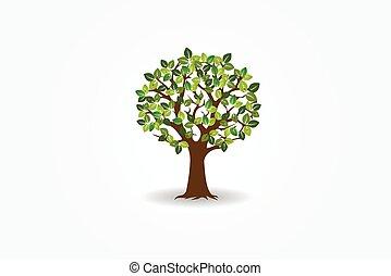 logotipo, árbol, vida, vector, símbolo