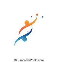 logotipo, éxito, vida, plantilla, gente, comunidad, cuidado, iconos, salud