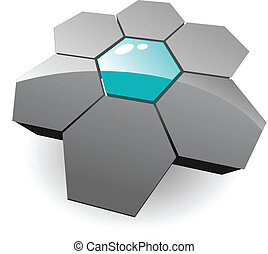 logotipo, 3d, hexágonos