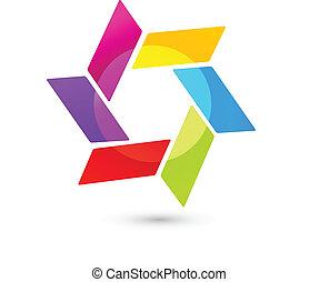 Logotipo abstracto en colores vívidos