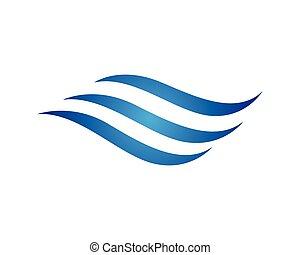 logotipo, agua, onda