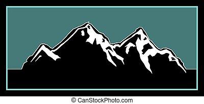 logotipo, aire libre, montaña