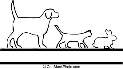 logotipo, ambulante, mascotas