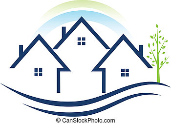 logotipo, apartamentos, casas de árbol
