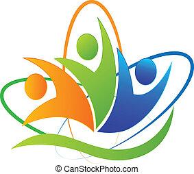 logotipo, app, feliz, éxito, gente