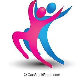 logotipo, bailarín, figuras
