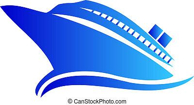 logotipo, barco, o, crucero