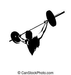 logotipo, barra con pesas, hombre, halterófilo, levantamientos, vector, resumen, silhouette., grande, fuerte