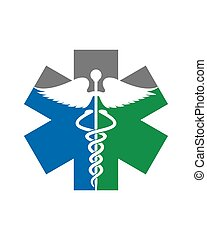 logotipo, caduceo, vida, estrella