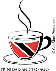 logotipo, café, hecho, trinidad, tobago, bandera