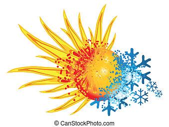 logotipo, caliente, frío