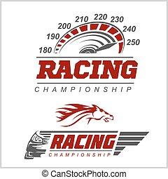 logotipo, campeonato, carreras