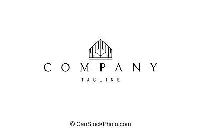 logotipo, casa, árbol, imagen, vector, interior., silueta, resumen