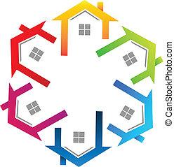 Logotipo colorido de bienes raíces