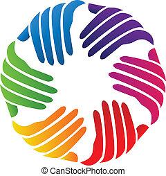 logotipo, compañía, vector, manos, caridad
