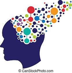 logotipo, concepto, establecimiento de una red, cerebro