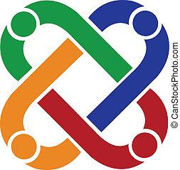logotipo, conexión, trabajo en equipo, gente