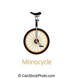 logotipo, contorno, o, plantilla, icono, bw, unicycle
