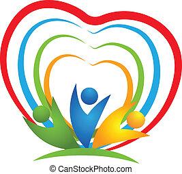 logotipo, corazón, gente, conexiones