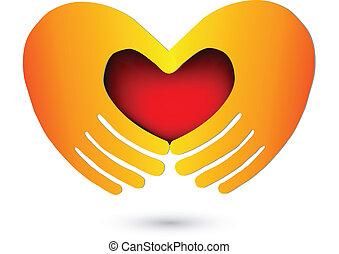 logotipo, corazón, rojo, manos